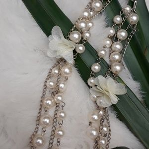 Four Strand Pearl/Chain Cluster Necklace
